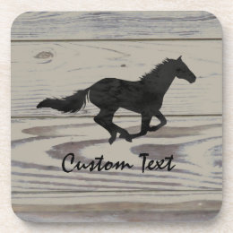 Rustic Wood Galloping Horse Watercolor Silhouette Drink Coaster