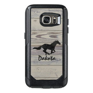 Rustic Wood Galloping Horse Watercolor Silhouette OtterBox Samsung Galaxy S7 Case