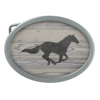 Rustic Wood Galloping Horse Watercolor Silhouette Oval Belt Buckle