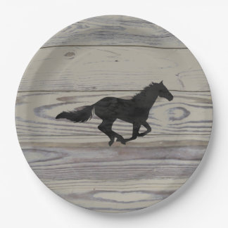 Rustic Wood Galloping Horse Watercolor Silhouette Paper Plate