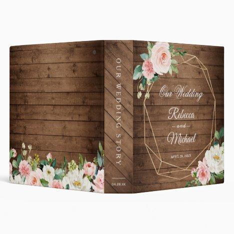 Rustic Wood Geometric Blush Floral Wedding Album 3 Ring Binder