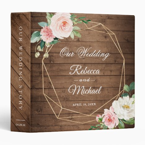 Rustic Wood Geometric Blush Floral Wedding Album 3 Ring Binder