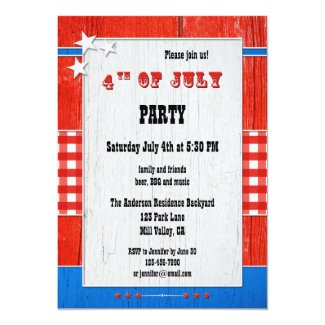 Rustic Wood Gingham 4th of July Party Invitation