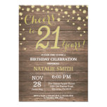 Rustic Wood Gold 21st Birthday Diamond Invitation