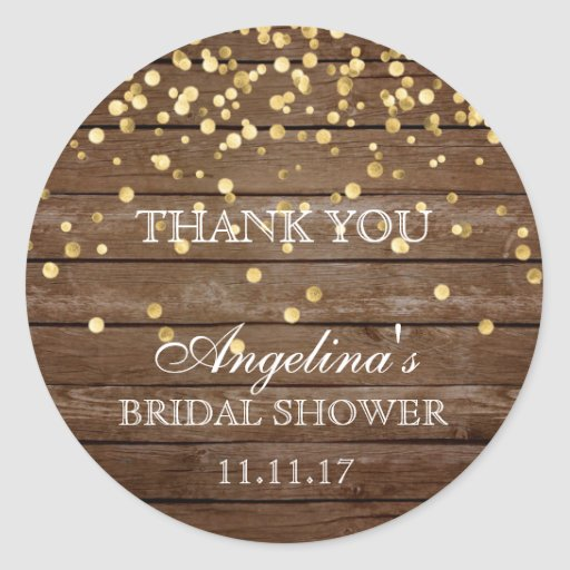 Rustic Wood Gold Confetti Bridal Shower Thank You Classic Round Sticker