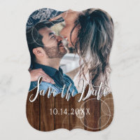 Rustic Wood Gold Shimmer Photo Save the Date