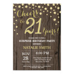Rustic Wood Gold Surprise 21st Birthday Diamond Invitation