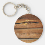 Rustic Wood Grain Boards Design Country Gifts Basic Round Button Keychain