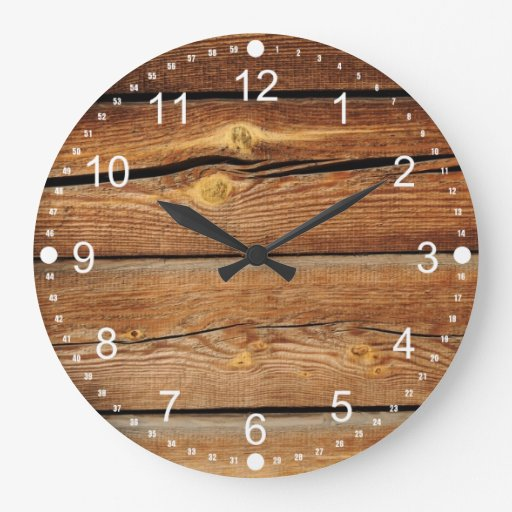 Rustic Wood Grain Boards Design Country Gifts Wall Clock | Zazzle