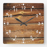 Rustic Wood Grain Boards Design Country Gifts Square Wall Clock at Zazzle