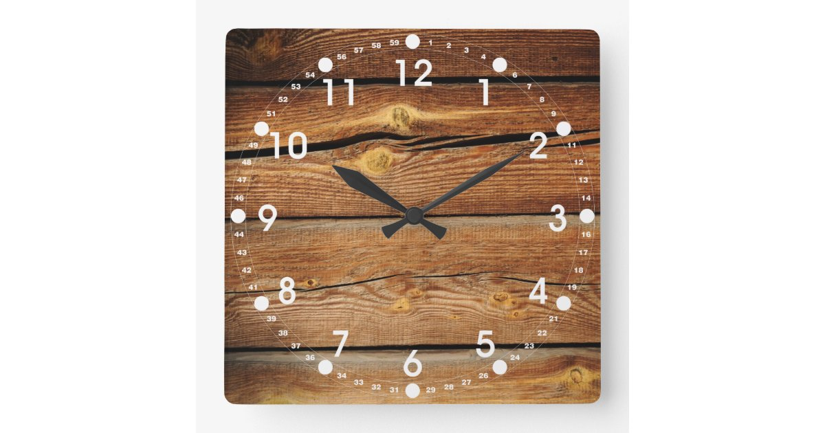 Rustic Wood Grain Boards Design Country Gifts Square Wall