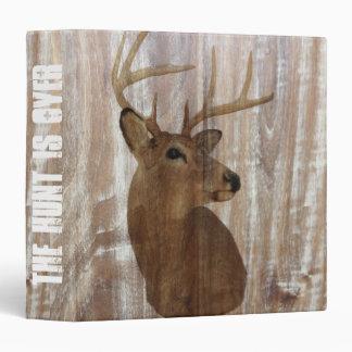 rustic wood grain deer the hunt is over wedding 3 ring binder