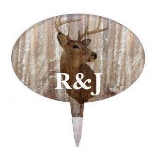 rustic wood grain deer the hunt is over wedding cake pick