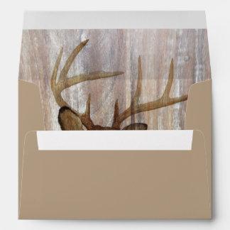 rustic wood grain deer the hunt is over wedding envelope