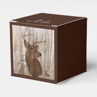 rustic wood grain deer the hunt is over wedding favor box