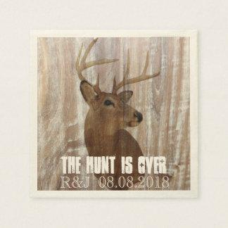 rustic wood grain deer the hunt is over wedding napkin