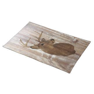 rustic wood grain deer the hunt is over wedding cloth placemat