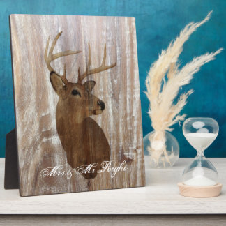 rustic wood grain deer the hunt is over wedding plaque
