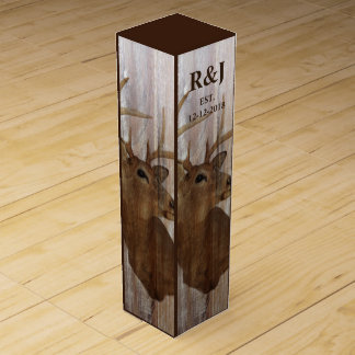 rustic wood grain deer the hunt is over wedding wine box