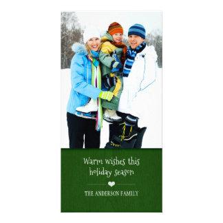 Rustic Wood Grain Holiday Photo Card - Green