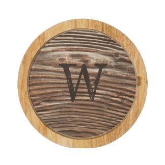 Rustic Wood Grain Monogram Custom Cheese Platter