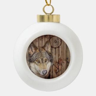 rustic wood grain native indian dream catcher wolf ceramic ball christmas ornament