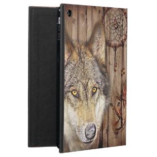 rustic wood grain native indian dream catcher wolf iPad air case