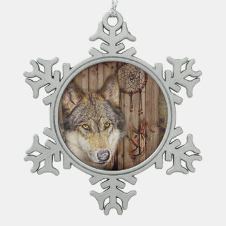 rustic wood grain native indian dream catcher wolf snowflake pewter christmas ornament