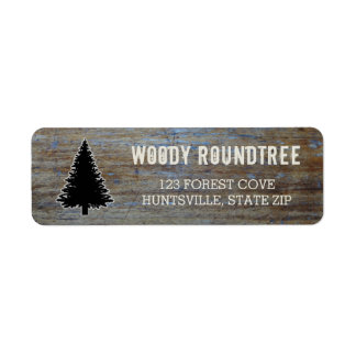 Rustic Wood Grain | Pine Tree Evergreen Silhouette Label