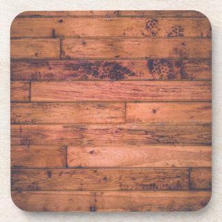 Rustic Wood Grain Square Coasters