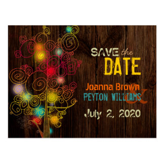 Rustic Wood Grain Trees Fall Wedding Save the Date Postcard