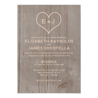 "Rustic Wood Grain Wedding Invitations 5"" X 7"" Invitation Card"