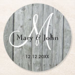 "Rustic Wood Gray Wedding Monogram Round Paper Coaster<br><div class=""desc"">Stylish  and chic wedding monogram coasters for your rustic theme wedding party. Personalize the template with your monogram initial, bride and groom names and the wedding date . The gray wood pattern on the background gives the country rustic touch to the custom monogram drink coasters.</div>"