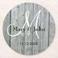 Rustic Wood Gray Wedding Monogram Round Paper Coaster