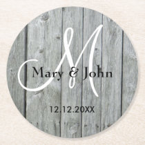 Rustic Wood Gray Wedding Monogram Round Paper Coaster