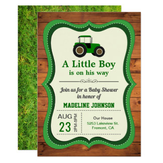 Rustic Wood Green Farm Tractor Baby Shower Invitation