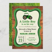 Rustic Wood Green Farm Tractor Baby Shower Invitation