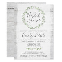 Rustic Wood Green Wreath Bridal Shower Invitation