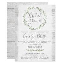 Rustic Wood Green Wreath Bridal Shower Invitation