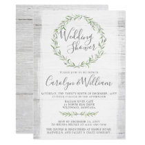 Rustic Wood Green Wreath Wedding Shower Invitation