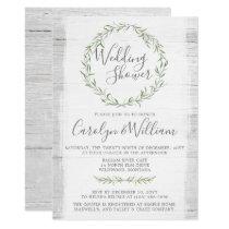 Rustic Wood Green Wreath Wedding Shower Invitation