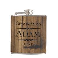 Rustic Wood Groomsman Personalized Flask