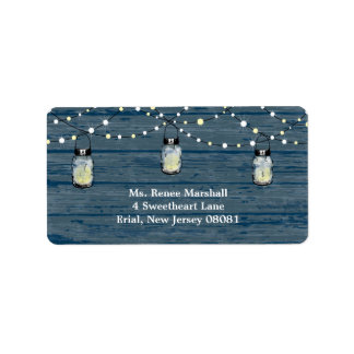 Rustic Wood Hanging Mason Jars and Lights Wedding Label
