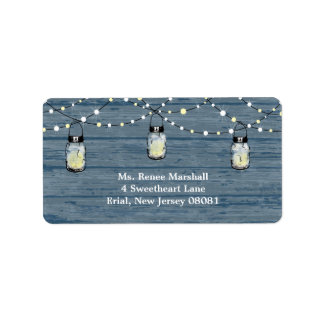 Rustic Wood Hanging Mason Jars and Lights Wedding Personalized Address Label