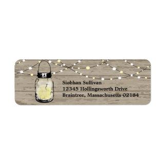Rustic Wood Hanging Mason Jars and Lights Wedding Return Address Label