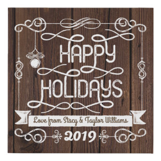 Rustic Wood Happy Holidays Christmas Typography Faux Canvas Print