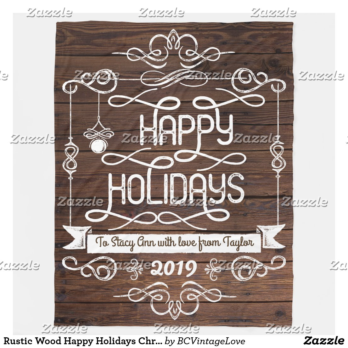 Rustic Wood Happy Holidays Christmas Typography Fleece Blanket