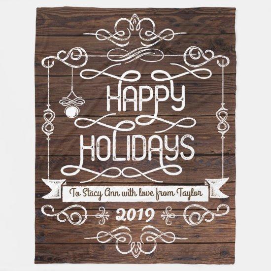 Rustic Wood Happy Holidays Christmas Typography Fleece Blanket