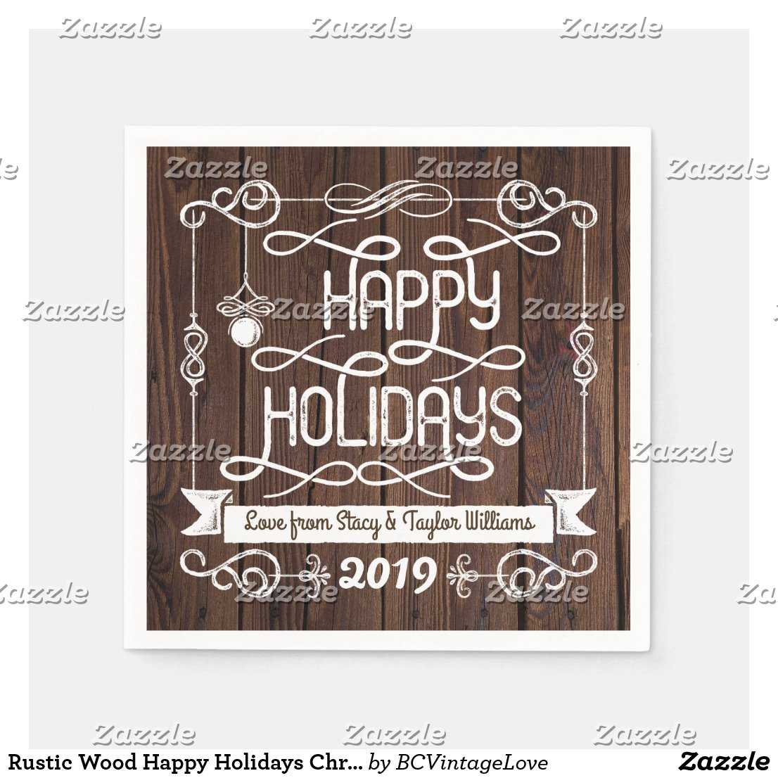 Rustic Wood Happy Holidays Christmas Typography Napkin