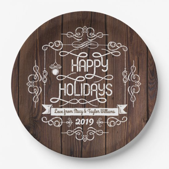 Rustic Wood Happy Holidays Christmas Typography Paper Plate